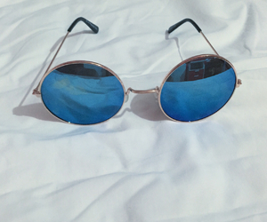 blue, sunglasses, and love image