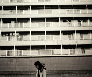 black and white, building, and girl image