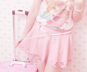 cute, pink, and cat image