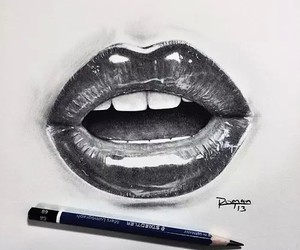 drawing, lips, and art image