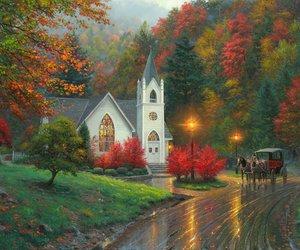 art, autumn, and churches image