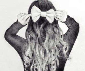 hair, drawing, and bow image