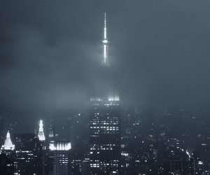 black and white, empire state, and night image