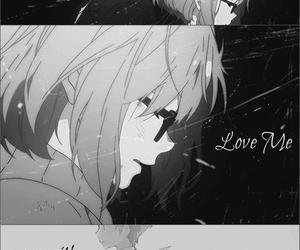 anime, crying, and dark image