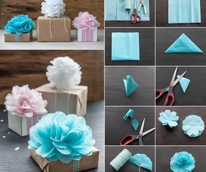 blue and pink, diy, and flowers image