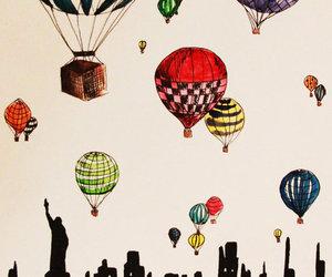 drawing, art, and balloons image