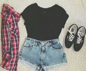 awesome, checkered, and denim shorts image