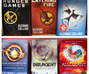 books, the hunger games, and insurgent image