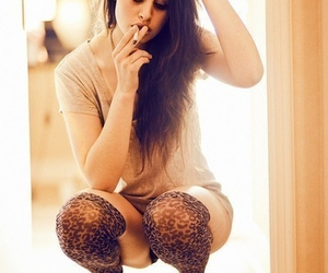 girl, hair, and smoke image