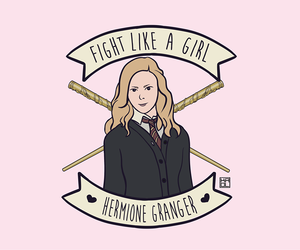 hermione granger, harry potter, and fight like a girl image