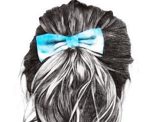 drawing, hair, and bow image