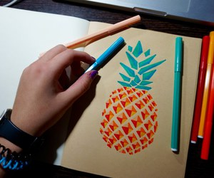 art, draw, and pineapple image