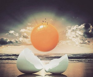 egg and beach image
