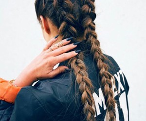 french braids, black bomber jacket, and black claw nails image