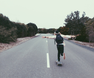 road and skateboard image