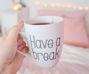 tea, pink, and coffee image