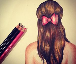 bow, draw, and girl image