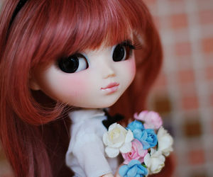 doll, flowers, and kawaii image