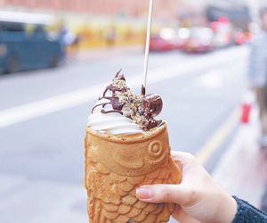food, ice cream, and fish image