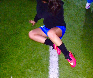 brunette, soccer, and field image