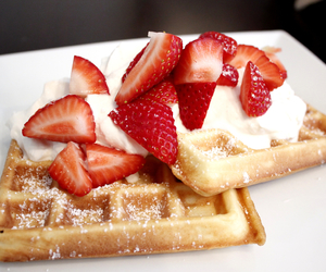 strawberries and waffles image