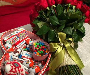 chocolate, flowers, and kinder image