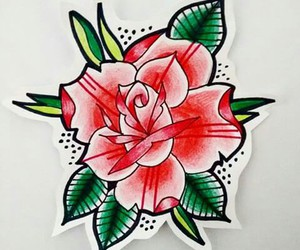 drawing, flower, and old school tattoo image