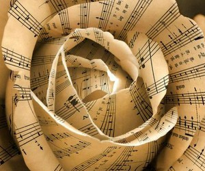 music, rose, and flowers image