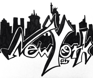 city, drawing, and graffiti image