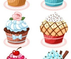 background, cake, and cupcakes image