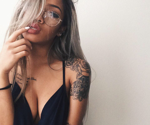tattoo, girl, and glasses image