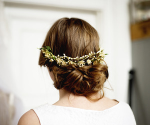 bun, flowers, and hair image