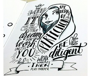 art, hand lettering, and black and white image