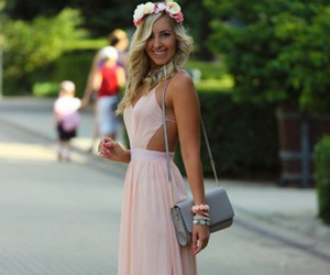 baby pink, flower headband, and long dress image