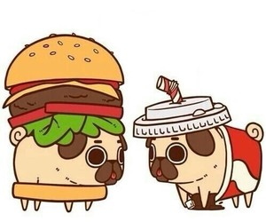pug, dog, and hamburger image