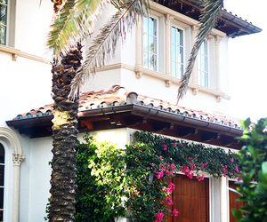 house, luxury, and flowers image