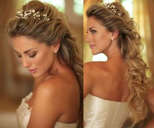 blonde, bride, and curls image