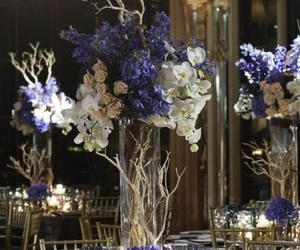 blue, decoration, and flowers image