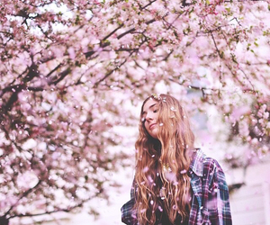 cherry blossom tree, flowers, and girl image