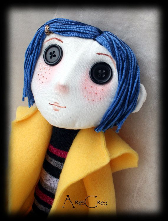 Coraline Cloth Doll With Button Eyes Handmade Rag By Arescrea