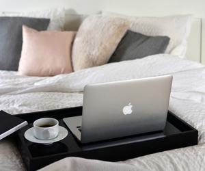 apple, macbook, and pillow image