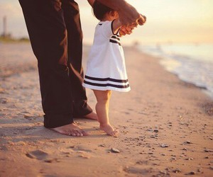 baby, beach, and dad image