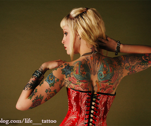 back, blonde, and corset image