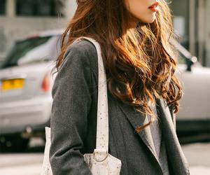 bag, beautiful girl, and brown hair image