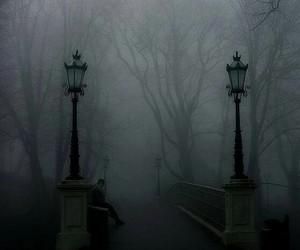 dark, fog, and black and white image
