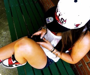 american, phone, and brunette image
