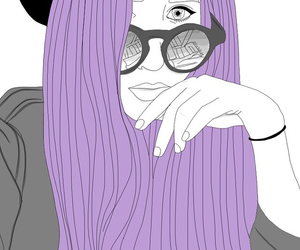 grunge, purple hair, and sunglasses image