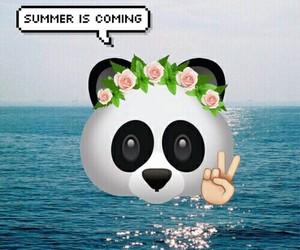 flowers, panda, and sea image
