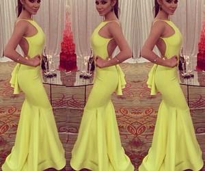 dress, yellow, and long dress image