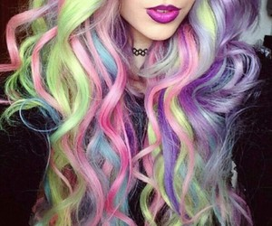 colorful hair, green, and waves image